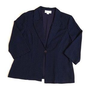 Dressbarn Blue Pink  3/4 Sleeve One Button Jacket
